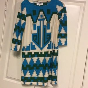 Patterned blue green and white Tibi dress!